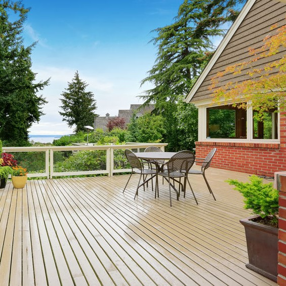 wood deck with patio furniture