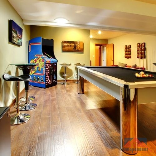 Basement Game Room With Billiards & Games