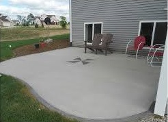 a freshly-poured patio, concrete patios